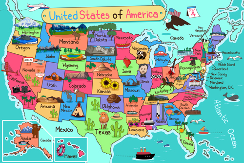 HUAYI The map of the USA Photography Backdrop Scenery Custom Photo Portrait Studios Background map backdrop XT4955