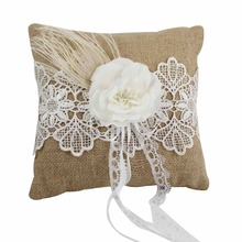 Back to nature Burlap Hessian Wedding Ring Pillow with Lace