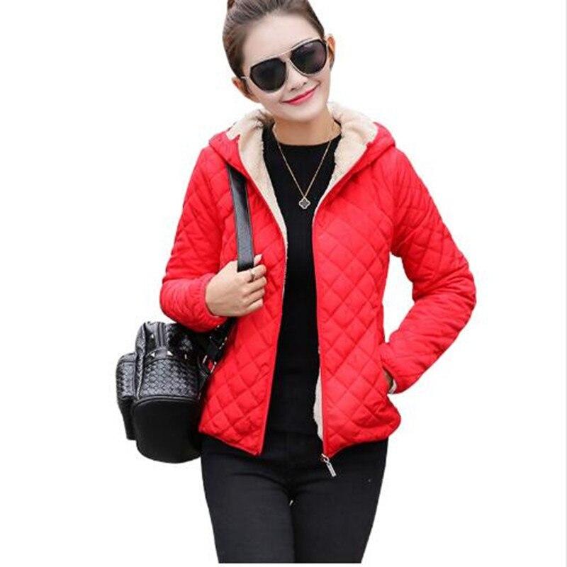 Autumn New 2019 Parkas   basic     jackets   Female Women Winter plus velvet lamb hooded Coats Cotton Winter   Jacket   Womens Outwear coat