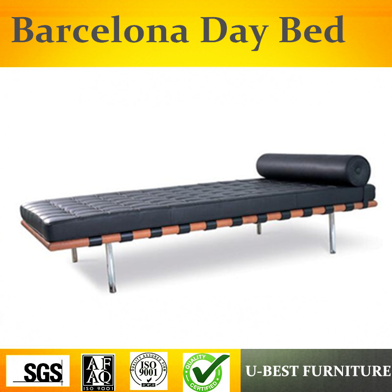 U-BEST Replica Leather Black Barcelona Daybed, Leather Sofa Bench Replica Cushion