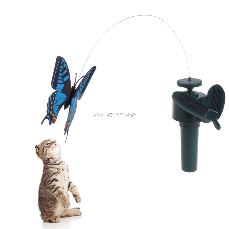 Haustier Katze Teaser Elektrische Solar Powered Fliegen Schmetterling Hummingbird Spielzeug Outdoor yy56