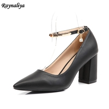 Women Pumps Sexy Rivet Shoes Rome Women 7CM High Heels Fashion Party Pointed Toe Square Heels Stiletto Leather Shoes XZL-A0055 недорого