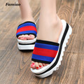 Famiao2017 New Summer Women open toe high platform flat sandals Wedges slippers flip flops 6 cm High heel shoes women