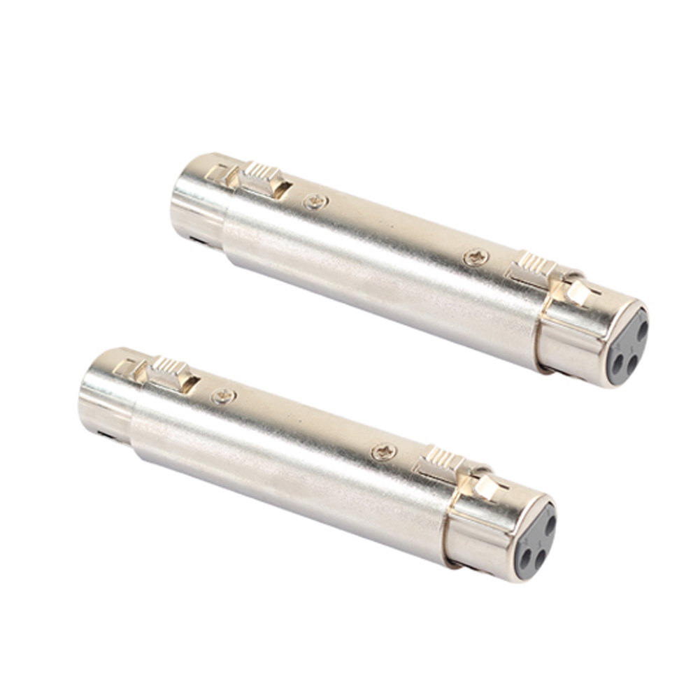 2pcs XLR 3Pin Female to Female Microphone Cable Cord Extend Gender Changer Coupler Connector XLR adaptor