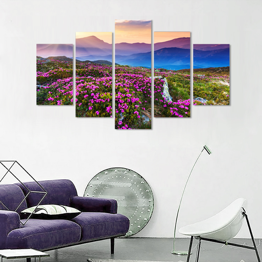 Unframed HD Canvas Painting Mountains Fog Purple Flower Picture Prints Wall Picture For Living Room Wall Art Decoration