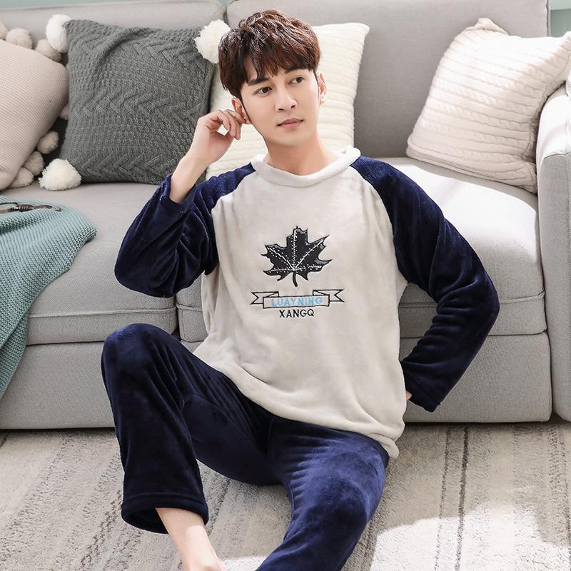 Men's   Pajamas     Set   Autumn Winter Coral Fleece Cartoon Thicken Flannel Warm   Pajamas   Men's Long Sleeve Nightwear Top Pant Flannel
