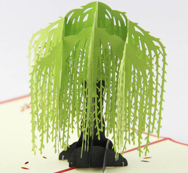 Online shop willow tree pop up card3d kirigami card handmade image m4hsunfo