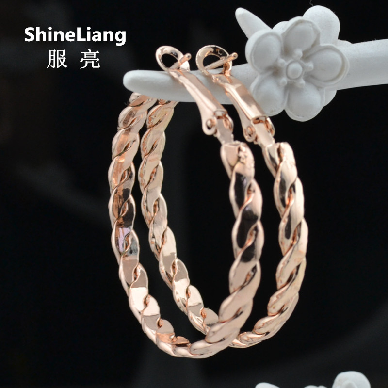 Double threaded twisted Hoop Earrings for women Fashion Jewellery Big circle ros