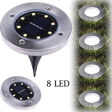 8 LED Solar Light Solar Powered Ground Buried Light Home Gar