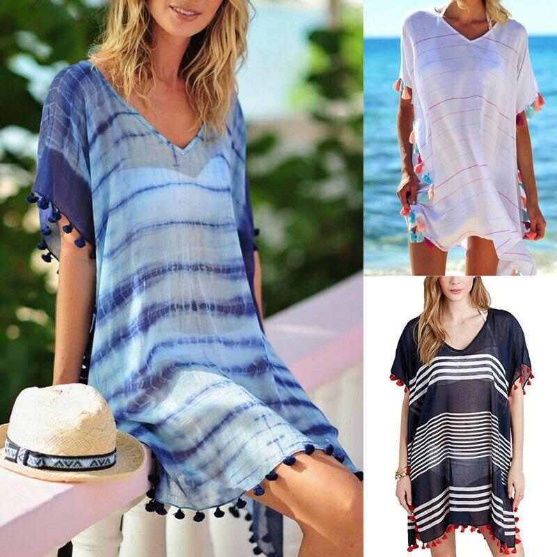 Women Stripe Print Tassel Swimsuit Bikini Cover Up Dress Kaftan V Neck Tops Swimwear Female Beach Dresses