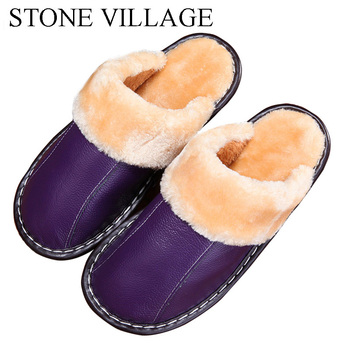 Genuine Leather slippers Warm plush Slipper women Couples Winter IndoorOutside Flats women slippers shoes Women home Slippers 1