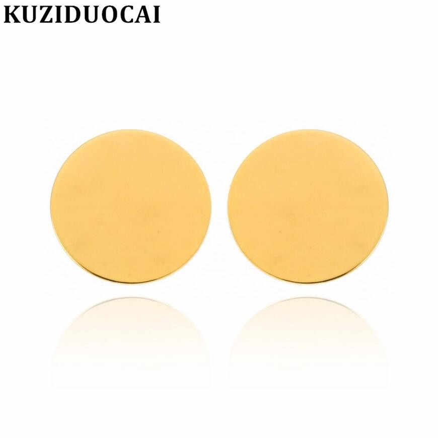 Kuziduocai новые модные ювелирные изделия панк хип-хоп/Рок лаконичные металлические пластины Круглый Круг массивные серьги гвоздики для женщин Brinco Aretes