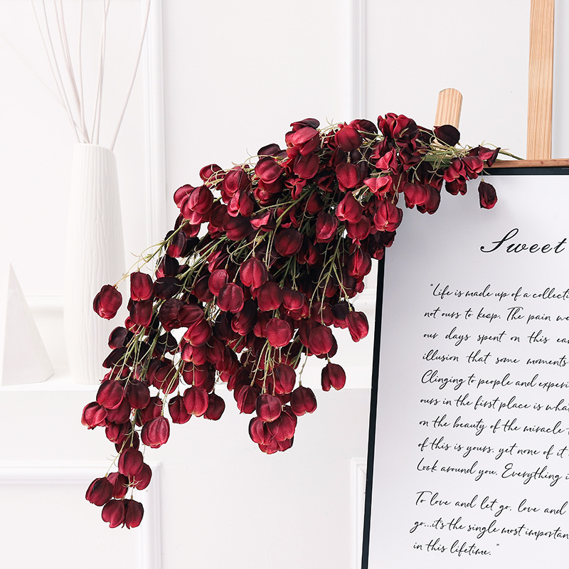 Klonca Luxury Natural Silk Flower 97cm 1pc Artificial Fake Lantern Hanging Rattan Home Decoration