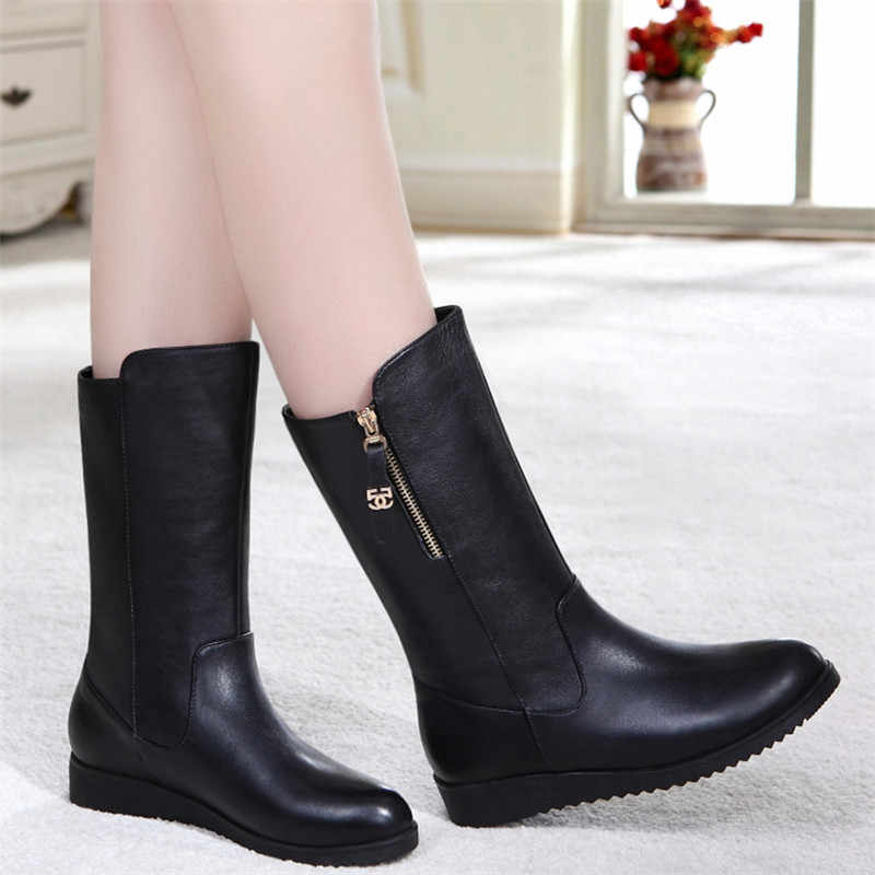Yüksek Kaliteli kadın Kış Ayakkabı Kadın Yumuşak Deri Çizmeler kadın düz kar botları Bayan rahat ayakkabılar Ücretsiz Kargo