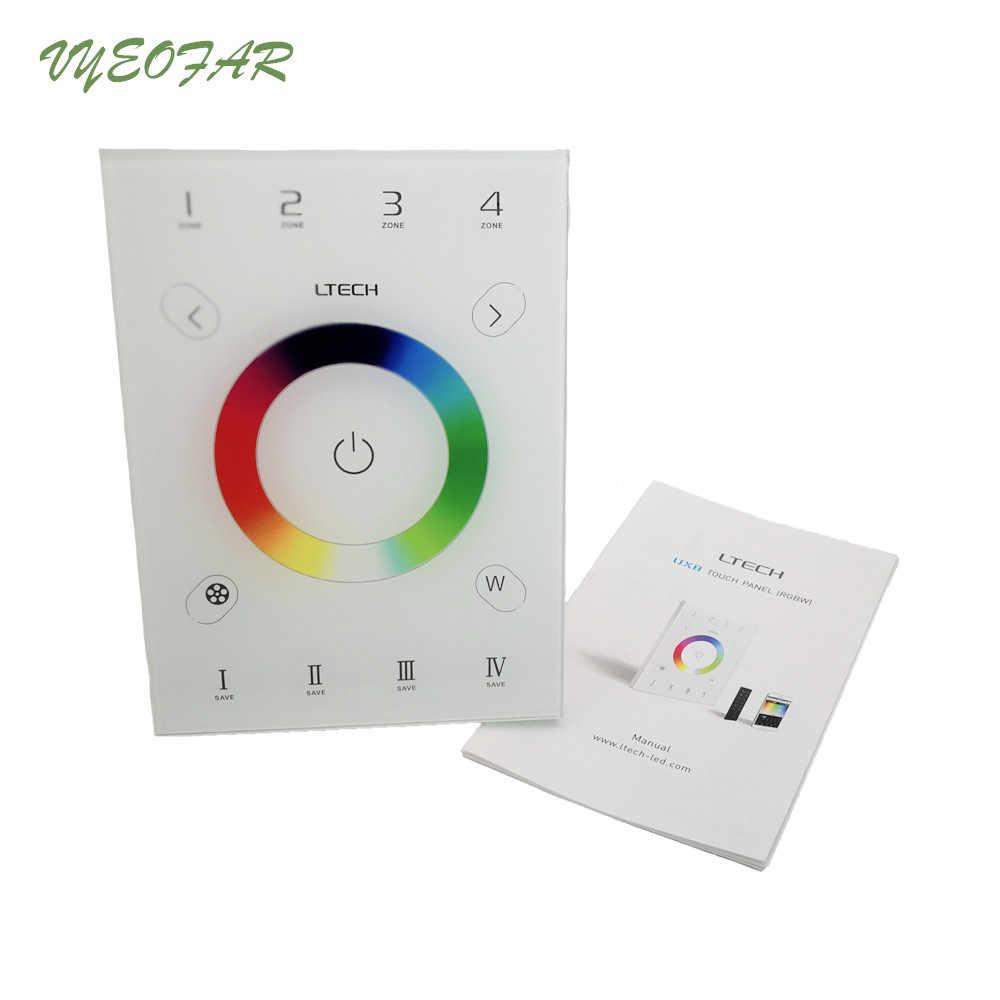 Nouveau contrôleur UX8 LED RGBW RF2.4G et DMX512 4 zones multi-fonction 146mm panneau tactile en verre mural RGBW contrôleur de bande