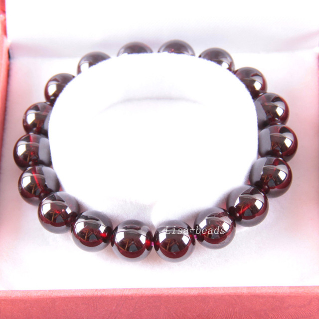 """Free Shipping Free Shipping Fine Jewelry 11MM AA 100% Natural Red Garnet Stretch Bracelet 7"""" with Gift Box RJ035"""