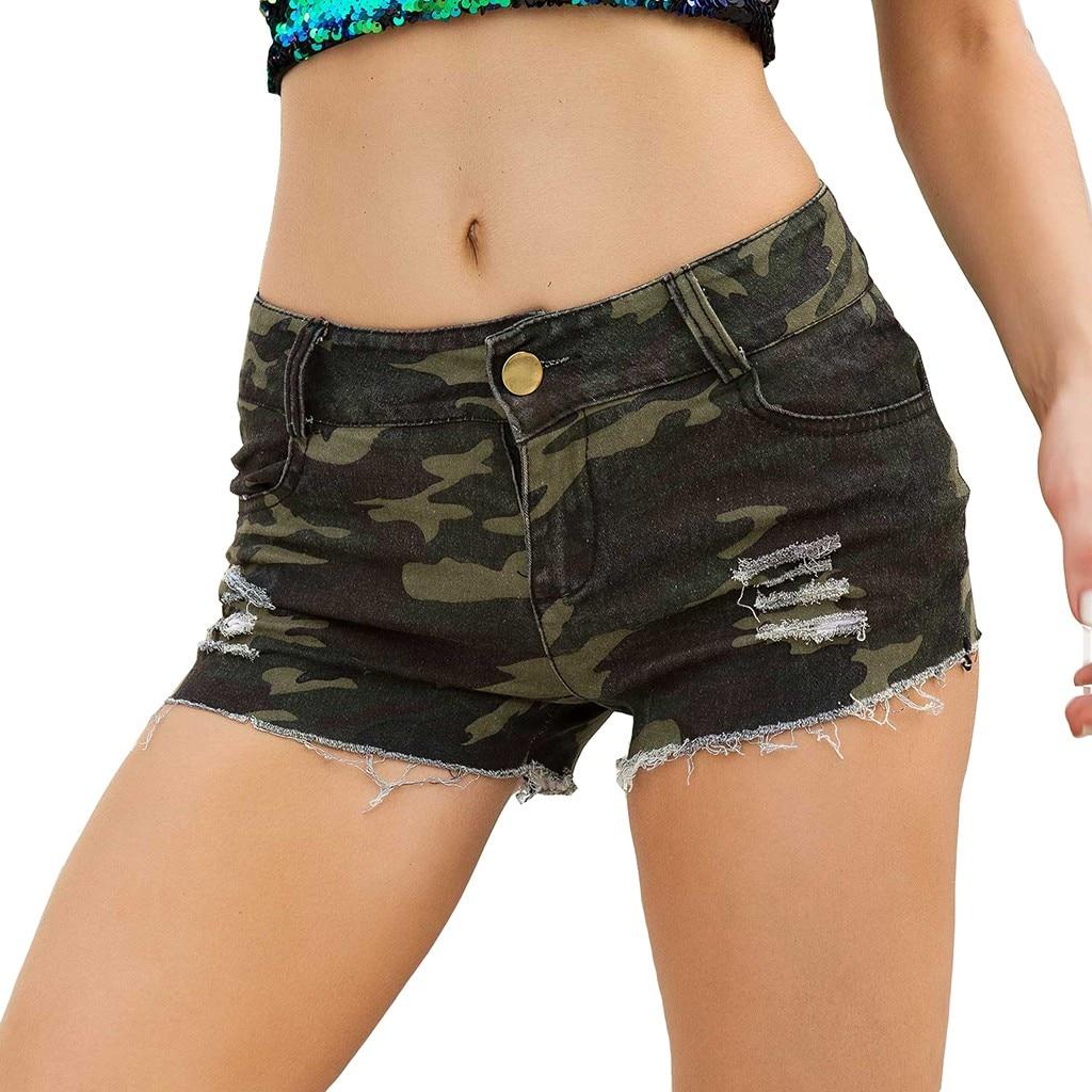 Mini Shorts Summer Casual Sexy Women Camouflage Denim Jeans Low Waist Super Mini Shorts High Waist