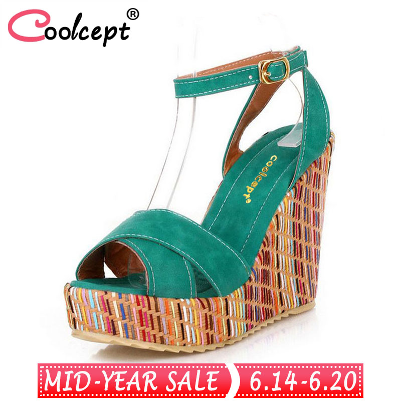 Coolcept Summer Style Bohemian Wedges Women Sandals For Lady Shoes High Platform Open Toe Flip Flops Size 34-39 PA00658 fashion wedges sandals female shoes women platform shoes lace belt bow flip flops open toe high heeled shoes size 35 39 pa00230