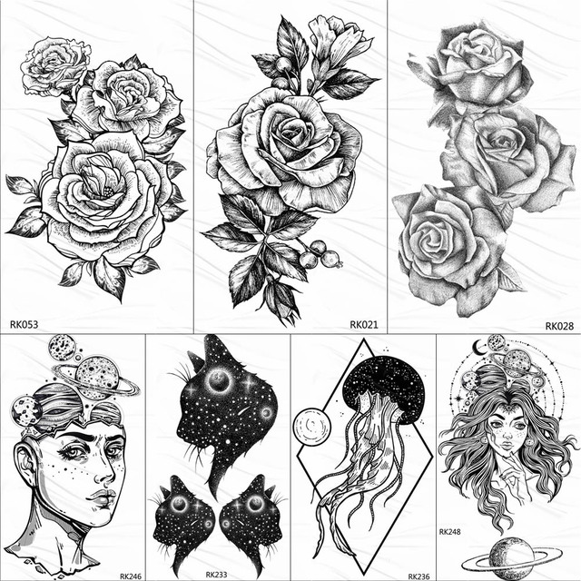 86f80a74a OMMGO Black Rose Flower Camellia Temporary Tattoos Sketch Drawing Floral  Tattoo Body Art Arm Neck Fake Waterproof Tatoos Sticker