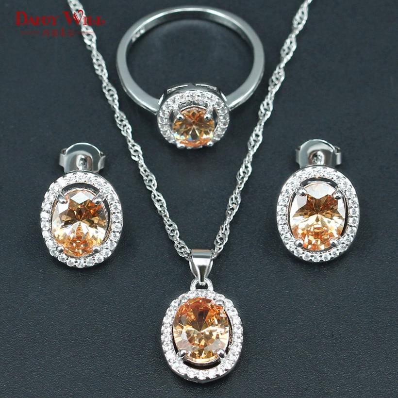 Wedding-Jewelry-Sets Zircon Gift Brides Dubai Orange Earrings/Ring/pendants Silver-Color