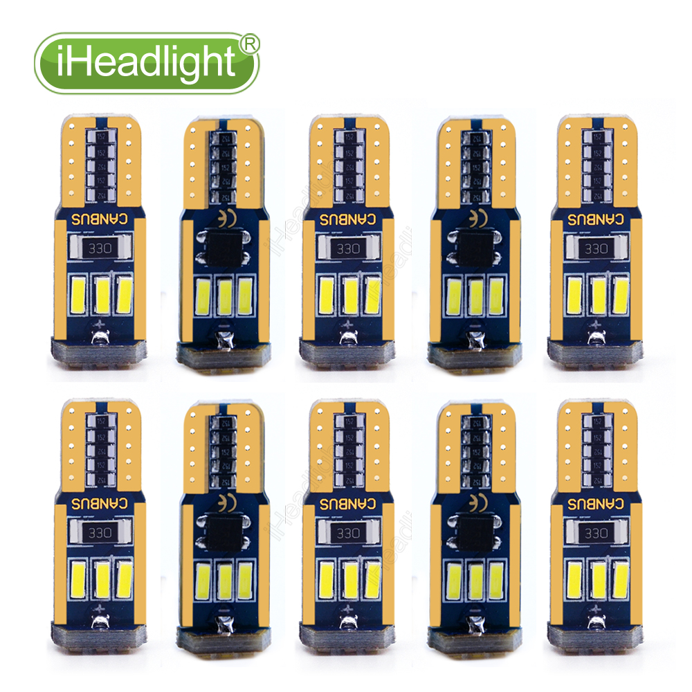 10PCS <font><b>T10</b></font> LED <font><b>Canbus</b></font> NO ERROR <font><b>W5W</b></font>/194 9 leds <font><b>4014</b></font> SMD Bulb White 12V 6000K Interior Car Signal Lights for Parking Side Lamp image