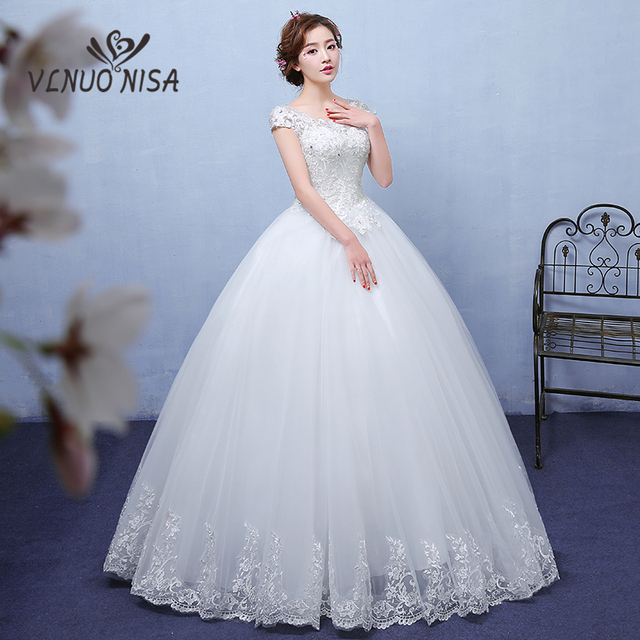 d32f985339c VLNUO NISA Elegant White Wedding dress Delicate Embroidery Appliques  Sequins Backless Lace Up Bridal Dress Plus Size Customized
