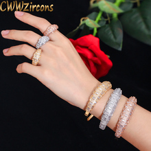 CWWZircons Luxury Cubic Zirconia Rose Gold Color Women Wedding Party Bangle Bracelet and Rings Sets Bridal Costume Jewelry T324
