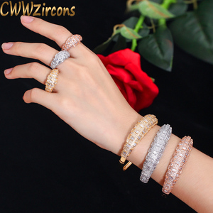 Image 1 - CWWZircons Luxury Cubic Zirconia Rose Gold Color Women Wedding Party Bangle Bracelet and Rings Sets Bridal Costume Jewelry T324