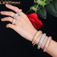 CWWZircons Luxus Zirkonia Rose Gold Farbe Frauen Hochzeit Partei Armreif Armband und Ringe Sets Braut Kostüm Schmuck T324