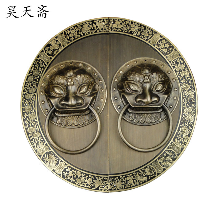 [Haotian vegetarian] door knocker Chinese decoration antique copper handle antique handle HTA-096 chassis цена 2017
