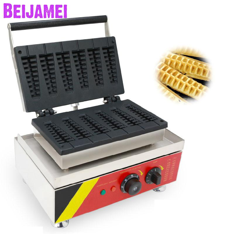 BEIJAMEI commercial six small Christmas tree shape lolly waffle maker electric pine tree waffle cake making