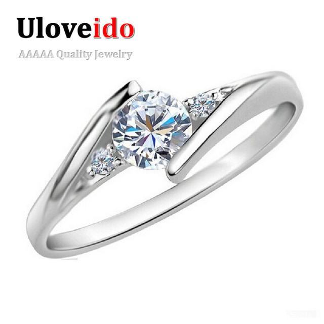 Uloveido Silver Color Wedding Jewelry Rings for Women Crystal