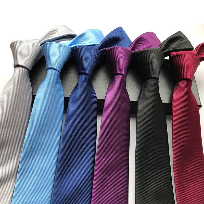 6cm Solid Color Wine Blue Black Purple Silver Men's Fashion Narrow Tie Jacquard Woven Business Ties For Man 100% Silk Neckties