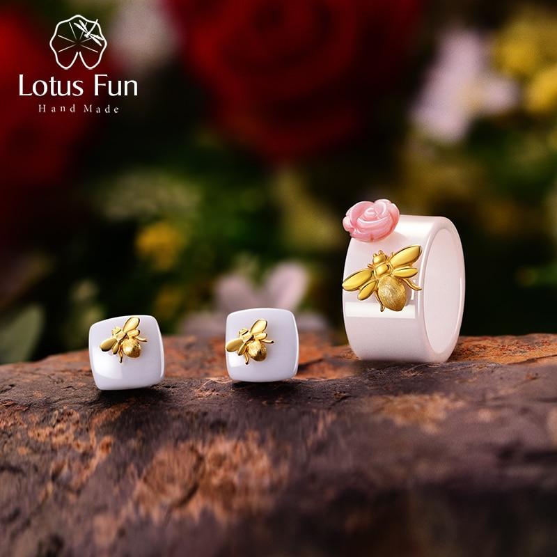 Lotus Plaisir Réel 925 Sterling Argent Naturel À La Main Fine Bijoux Céramique Mignon Abeille Kiss from a Rose Bijoux Ensemble pour femmes Bijoux