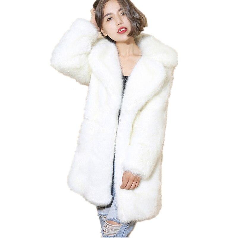Lisa Colly Winter Women Faux Mink Fur Coat Fashion Luxurious Long Slim Warm Faux Fur Coats winter jacket women high quality coat