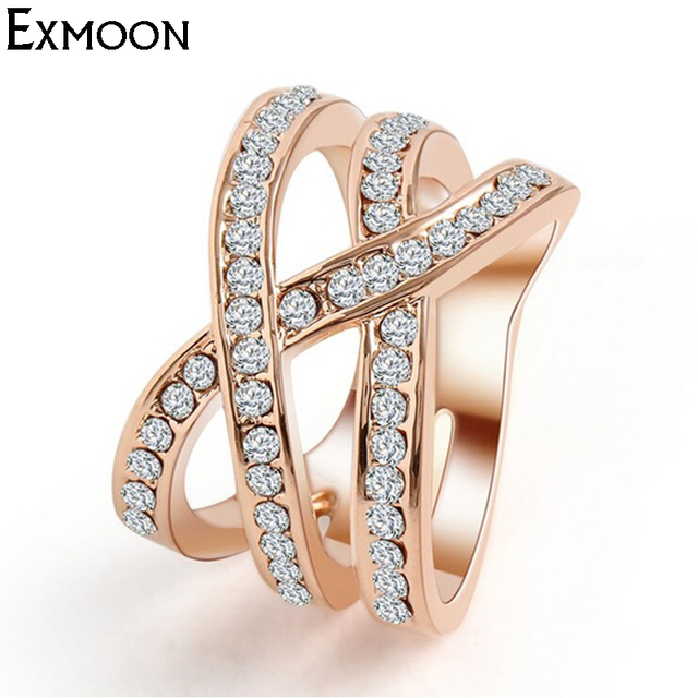 Rose Gold Plated Cubic Zirconia Crisscross Ring