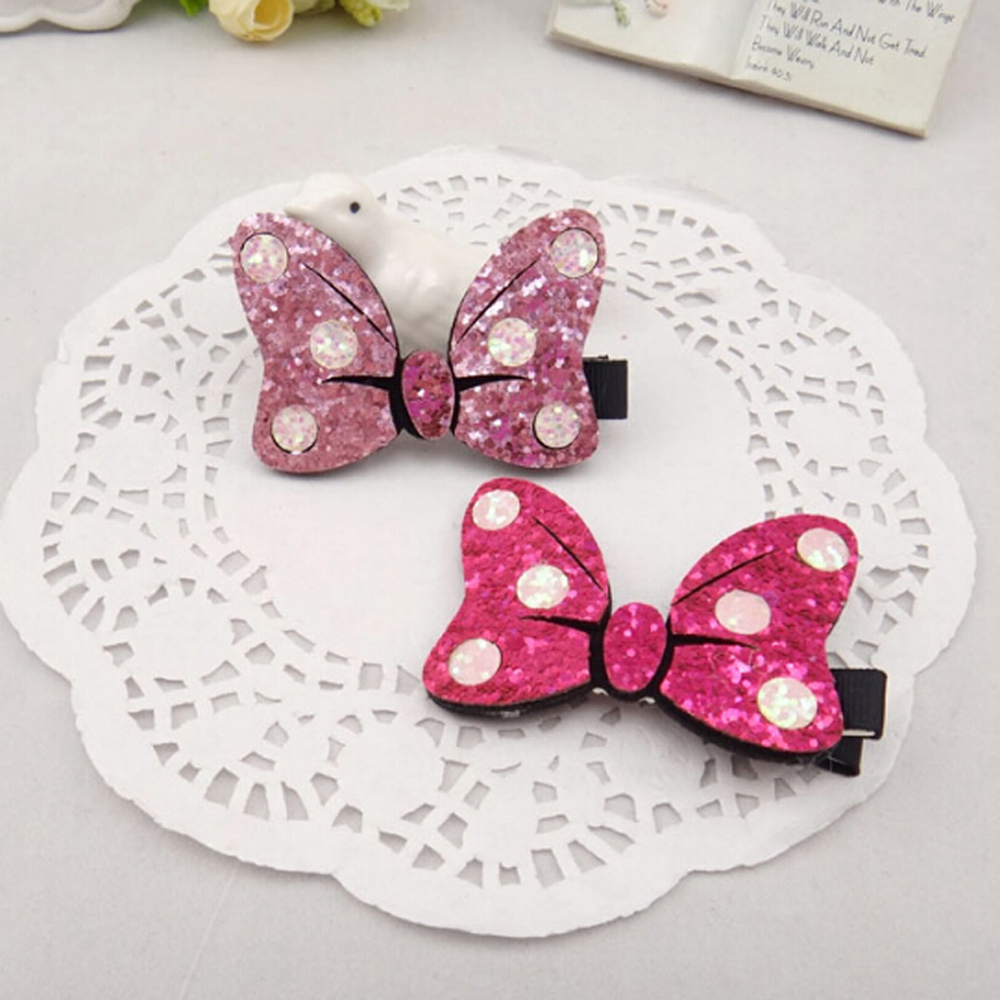 1 pcs Fashion Point Cute Bow Hair Pins Girls Accessories Children Lovely Butterfly Hair Clips Headdress 2017 Hot Sale minnie mouse ears baby girl hair clip children clips accessories kids cute hairclip for girls hairpins hair clips pins menina