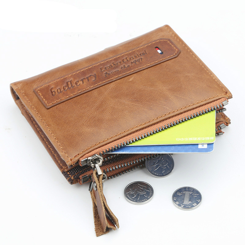High Quality Male Wallets Crazy Horse Leather Card Pocket Money Clip Short Purses Brown Solid Vintage Men