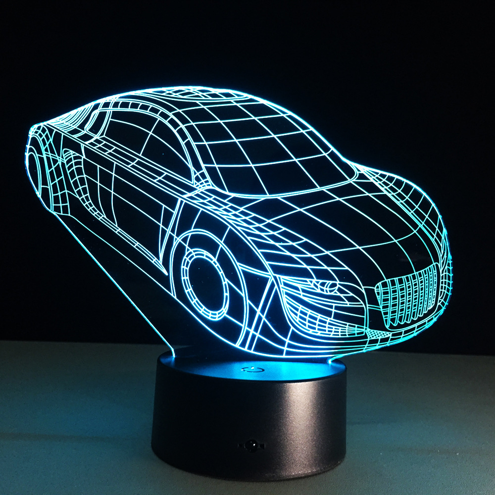 Creative 3D Illusion LED Acrylic Wooden Base Desk Table Lamp RGB Nightlight  USB Remote Control for Home Decor with Car Shape-in Night Lights from  Lights ... - Creative 3D Illusion LED Acrylic Wooden Base Desk Table Lamp RGB