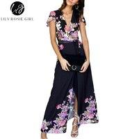 Lily Rosie Girl Maxi Wrap Floral Print Women Dresses 2018 Summer Beach Boho Party Long Dress