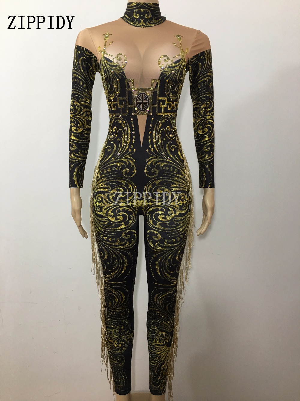 Sexy Green Tassel Jumpsuit Women's sexy Nude Leggings fringes Bodysuit Costume Dance Stage Wear Female Singer Big Stretch Outfit