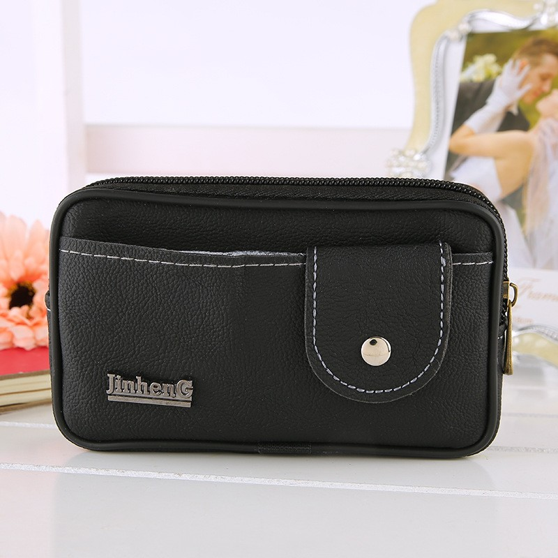 Men Fanny Pack Mobile Phone Male Zipper Black Coin Purse PU Leather Good Quality Bags Casual Waist Packs Man Money Bags Purses