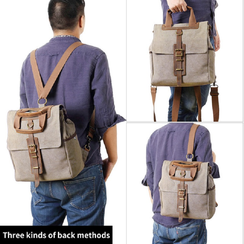 M243 Men Women Canvas backpack School Bags Backpack Male Vintage Military Crazy Horse Leather Shoulder Travel Backpack Schoolbag-in Backpacks from Luggage & Bags    1