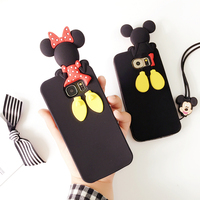 Free Lanyard Funny 3D Silicon Minnie Mickey Back Head Cartoon Soft Case For Samsung Galaxy