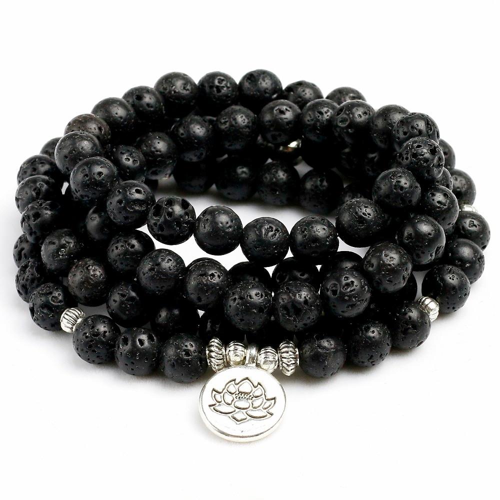 8mm Natural Lava Rock Stone Healing 108 Buddhist Prayer Beads Mala Men Women Bracelet Necklace Essential oil therap Yoga Jewelry