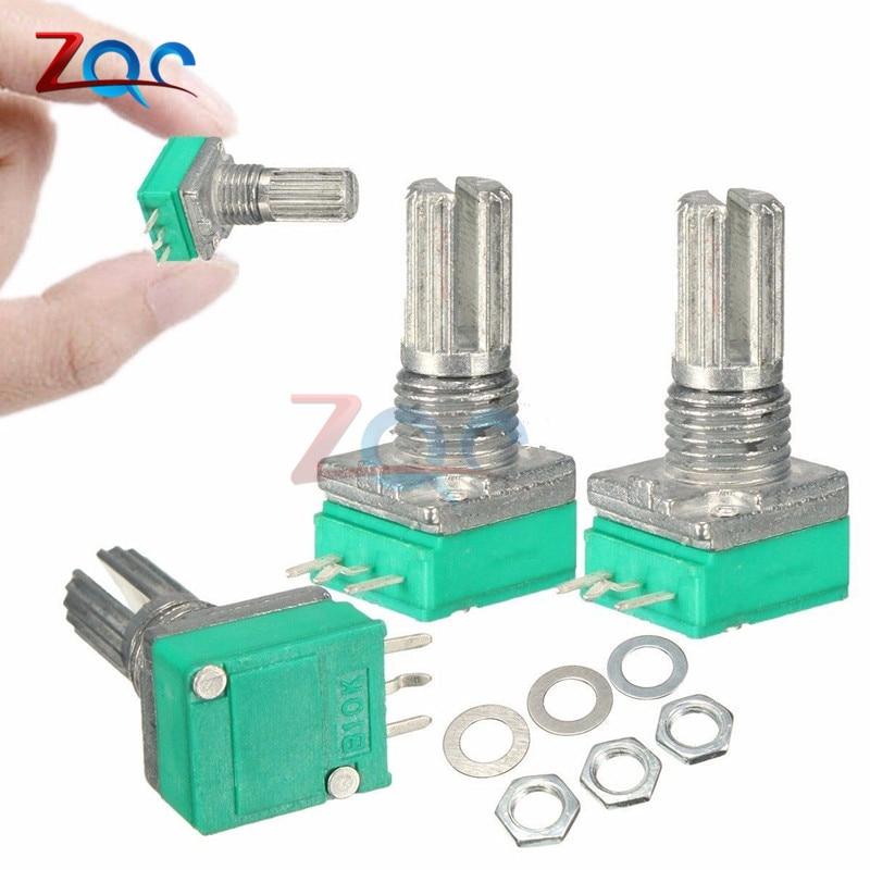 10Pcs B10K 10K Ohm 15mm Shaft Single Adjustable Linear Taper Potentiometer