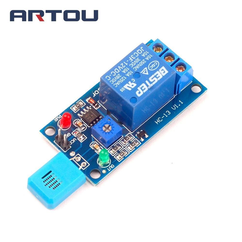 HR202 DC 12 в 1 канальный 1CH 12 В чувствительный к влажности переключатель, релейный модуль, контроллер влажности, модуль датчика влажности с индик...