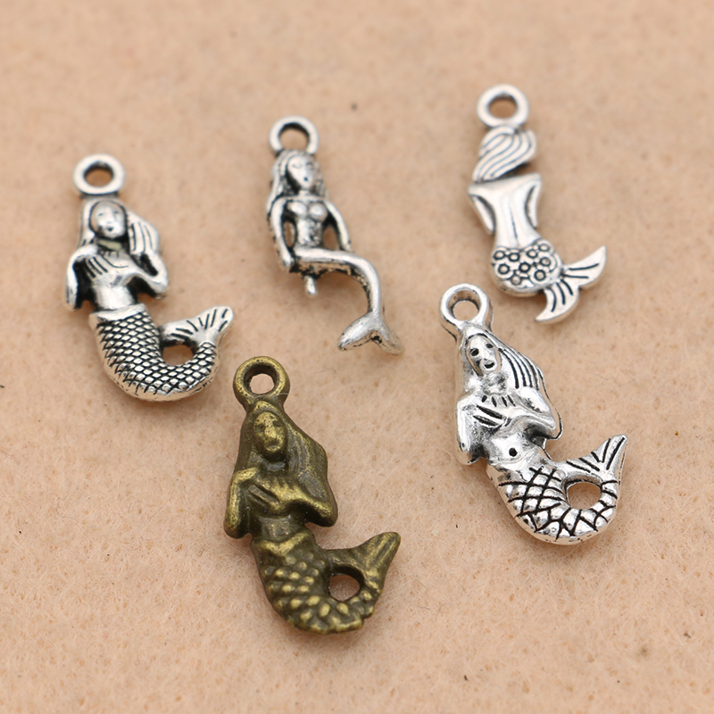 KJjewel Tibetan Silver Plated Mermaid Charms Pendants fit Bracelet Jewelry Diy Jewelry Findings 20x9mm