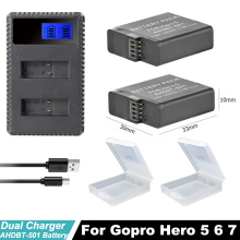 2x Hero 6 Hero7 battery  Hero 5 Batteries + USB Dual LCD Smart Charger For GoPro Hero 7 hero5 hero 6 Black Action Acceessories hero