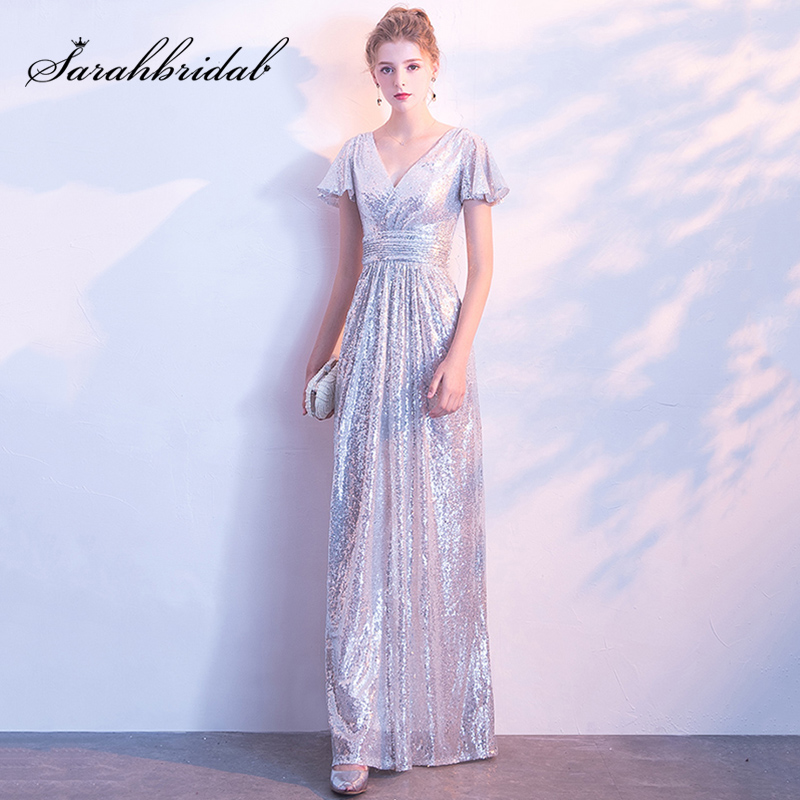 e9c3042ca13 Cheap Silver Shining Prom Dresses Long Sequin Maid of Honor Dress Simple  V-Neck Short